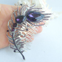 Wholesale Tiara Gorgeous Peacock Feather Hair Comb w Purple Rhinestone Crystals FSE05038C2