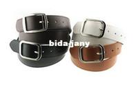 Wholesale Fashion Simple PU Leather Straight Belt Unisex Women Lady Men Belt Colors White Black S5