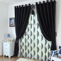 Window beaded curtain black - On sale Luxury Window Curtains Flocked Organza Sheer Tulle with Blackout Curtain For Living Room Beaded In Black Freeshipping