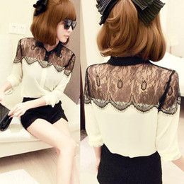 Wholesale S M L XL XXL XXXL HOT Sale Womens Black Lace Chiffon Blouses Lady Splicing Long Sleeve Tops