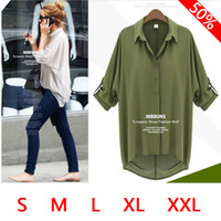 3/4 Sleeve Polyester Women 2014 new fashion women loose blouses Chiffon Sexy Summer long sleeve Top white casual blouses