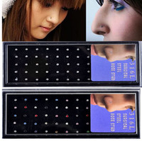 Wholesale 120pcs Rhinestone L Surgical Stainless Steel Nose Lip Bar Stud Ring Body Piercing NS15 NS16