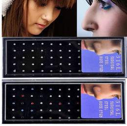 Wholesale 120pcs hot Rhinestone L Surgical Stainless Steel Nose Lip Bar Stud Ring Body Piercing Free NS15 NS16