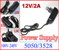 AC 100- 240V to DC 12V 2A 5. 5 x 2. 5 mm EU US UK Plug AC DC Po...