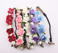 Wholesale Bride Bohemian Flower Headband Festival Wedding Floral Garland Hair Band Headwear Hair Accessories Jewelry for Women