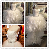 Wholesale Best Selling White Feather Prom Dresses Sweetheart Beads Crystal Sequins Ball Gown Asymmetrical Party Dresses Organza Wedding Dresses