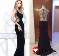 Reference Images Scoop Chiffon Real Picture 2014 Tarik Ediz Long Black Spandex Beadings Sexy Backless Elegant Cheap Evening Gown Prom Dress Free Shipping Orenda
