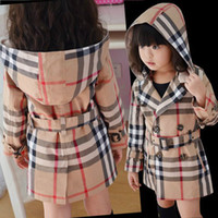 Wholesale 2014 New baby girl plaid coat brand name long sleeve hooded jacket high quality autumn girls cotton clothing kids outwear