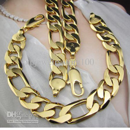 Wholesale - Heavy 24k Yellow gold filled Men's necklace Bracelet Sets 120g Figaro chain free