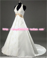 A-Line Model Pictures Small tail wedding pictures real hot models in Europe and America exports Halter Mother Bride small tail wedding dress