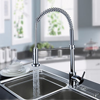 Wholesale 1pcs Chrome Finish Single Handle Contemporary Spring Spring Pull Kitchen Basin Faucet Single Handle Mixer Tap
