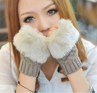 Wholesale 2014 Winter New Fashion Women Warm Faux Fur Gloves Female Rabbit Hair Knitted Thicken Fingerless Mittens Soft Fingerless glove