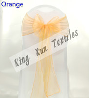 Wholesale For Wedding White Lycra Spandex Chair Cover With Orange Color Organza Chair Sash