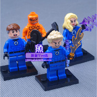 Wholesale 2014 New Fantastic Four The Avengers Building Block Sets Minifigure Weapons Cards Educational DIY Bricks Toys Set