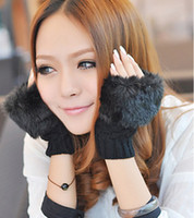 Wholesale Women s Soft Leather Mitten Rabbit Fur Fingerless Gloves Fashion Winter Arm Warmer Fingerless Gloves Brief paragraph gloves