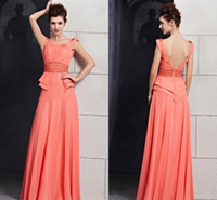 Reference Images Beads Sleeveless WM Modest Light Orange Elegant Women Long Prom Gowns Mini Skirt Sash Decoration Stylish Design Ruffles Full Length Bridesmaid Dress New 2014