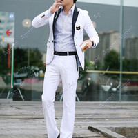 Wholesale Hot selling New Stylish Men s Casual Slim fit One Button Suit Pop Blazer Coat Jacket White M L XL XXL