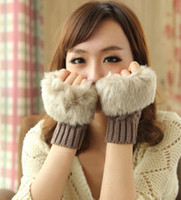 Fingerless Gloves cotton knitted gloves - Fashion Winter Arm Warmer Fingerless Glove Knitted Fur Trim Gloves Mitten Soft Warm Faux Fur Gloves Female Rabbit for keyboard Colours