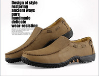 Wholesale 2014 Genuine leather flat shoes casual big yards shoes Handmade mens casual loafers