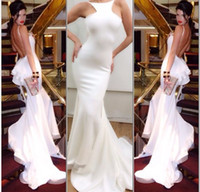 cheap white backless mermaid evening dresses 2014 bateau puf...