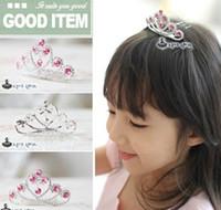 Wholesale Fashion Children s Hair Accessories Girls Hair Tiaras Barrettes Korean Rhinestone Glisten Crown Wedding Party Accessories C2156