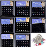 Wholesale 192pcs styles mixed Nose studs body jewelry piercing amp display NS1 NS8