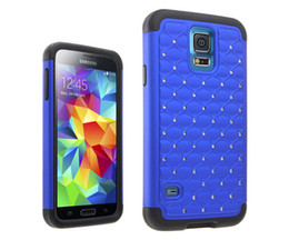Wholesale Stars Bling Diamond Hybrid Rugged Combo Impact Armour Silicone Case Hard Cover Skin for Samsung Galaxy S5 I9600