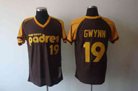 Wholesale Cooperstown Collection Throwback Baseball Jerseys San Diego quot Padres quot Tony Gwynn Coffee Embroidered Cool Base Jersey Best Sports Jerseys
