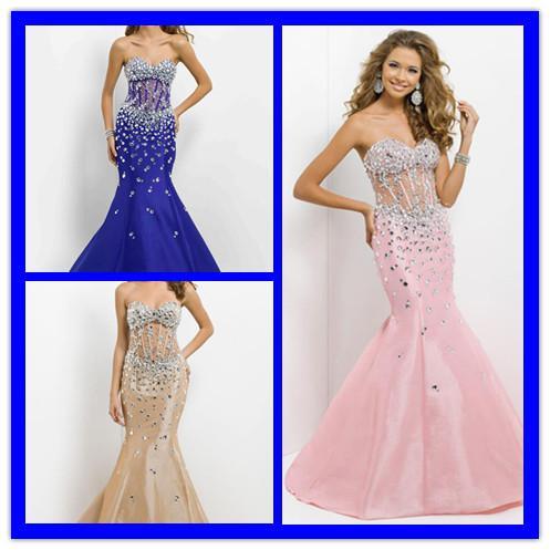 2014 Sexy Mermaid Beads See Through Corset Prom Dresses Taffeta ...