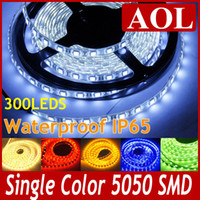 SMD 5050 Гибкие светодиодные полосы света 5 м 300Leds одного цвета водонепроницаемый IP65 для LED освещения дом Теплый белый синий красный зелёный жёлтый