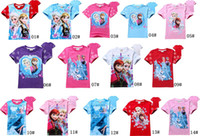Wholesale 2014 Baby Frozen Princess Elsa Anna Short Sleeve Summer Tshirt Top Children Cloth Ice Snow Queen Tshirt Tops Tee Kids Pink Red Pc Melee