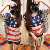 Women Cotton Polo Chic Women Batwing Loose Blouse Tops Oversized Tee T-shirt USA Flag Print Casual free&drop shipping