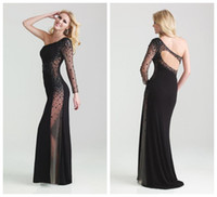 Reference Images One-Shoulder Elastic Satin Sheath One Shoulder Illusion Sleeve Detail with Beads Sheer Panel Back and Keyhole Sheer Side Panels Prom Evening Dresses Cocktail Gowns w