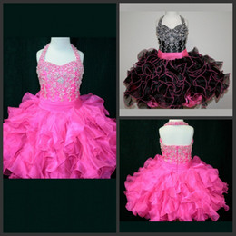 Free Shipping Ball Gown Halter Girl's Pageant Dresses Mini Short Organza Ruffles Beads Sequins Kids Discount Flower Girl Dresses