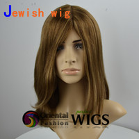 Wholesale Top Sale inch Long Layer Straight Mongolian Virgin Hair Silk Top Cheap Human Hair Kosher Jewish Wig