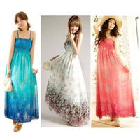 Casual Dresses gypsy dresses - S5Q Women Ladies Chiffon Boho Gypsy Hippie Maxi Summer Beach Slip Dress Sundress AAADCX