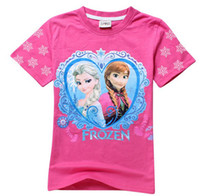 2014 Hot Sell Frozen T- Shirt Elsa Anna Girl Girls Short Slee...