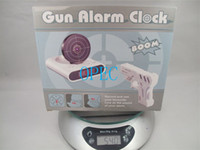 Wholesale New Style Novelty LCD Laser Gun Shooting Target Wake UP Alarm Desk Clock Gadget Fun Electronic Toy Gun Alarm Clock