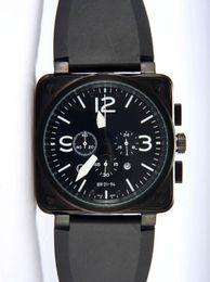 Luxury Men Quartz Chronograph Watches Best Brands Black Rubber Day Date Swiss Vine Square Stopwatch Modern Mens Sport Wristwatch Gift Box