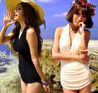 Wholesale Elegant Sexy One Piece Swimsuit Deep V Swimwear Halter Padded Swimdress y105