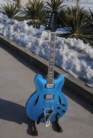 Wholesale New brand electric jazz guitar in blue color with chrome parts