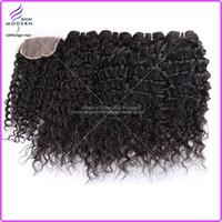 Wholesale Brazilian Virgin Hair Deep Curly Weave Pc Top Free Part Lace Closure With Hair Bundles Unprocessed Virgin Human Hair