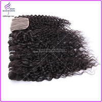 Wholesale 1 Pc Human Top Lace Closure With Hair Bundle Deep Wave Curly Brazilian Virgin Remy Hair Extension Free Part Human Hair Products