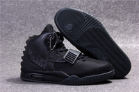 Wholesale with box Blackout Air Y II Rerto Kanye West Skateboarding Mens Athletic Basketball high top Sneakers bottom Trainers