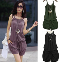 Wholesale Fashion Women s Spaghetti Strap Jump suit with Drawstring Ladies Casual Sleeveless Shorts braces Cotton Jumpsuit Black Green Purple