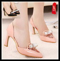 Women Pumps Stiletto Heel 2014 New silver bowtie transparent stiletto heel sexy high heel pointed pump ladies prom grown dress shoes black pink ePacket free shipping