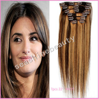 Wholesale 5A Grade Brazilian human remy hair weave clip in on hair extensions color set sets DHL