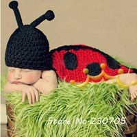 Boy Summer Crochet Hats HOT Cute Baby Infant Crochet Ladybug Hat Cape Costume Photo Photography Prop 0-8 Months Newborn Animal Hat Costume Free Shipping