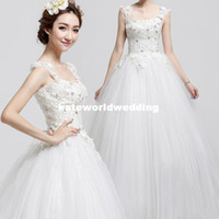 A-Line Reference Images Strap type Embroideried A line Wedding Dresses 2014 Demetrios Tulle Skirt with Sweetheart Backless Bridal GownCustom shoulder straps diamond lace