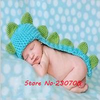 Boy Summer Crochet Hats Free shipping Cute Baby Dinosaur Cap Hat Newborn Photography Props Handmade Crochet Knitted Animal Hats Cap Shower Cape Costume